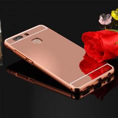 Bumper HUAWEI Ascend P9 Lite Aluminiu Mirror Rose Gold - Husa Telefon Huawei, Roz, Metal / Aluminiu, Fara snur, Carcasa