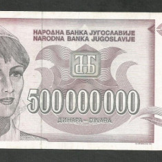 IUGOSLAVIA 500000000 500.000.000 DINARI 1993 [1] XF, P-125 - bancnota europa