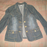 Sacou dama blugi/jeans cu nasturi din metal (alama), Marime: 44, Culoare: Indigo, Bumbac
