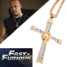 Pandantiv Lantisor Medalion AURIU Cruciulita Filmul Fast And Furios VIN DIESEL