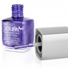 Oja speciala Jolifin pt matrita ce se aplica cu stampila, mov cu sclipici 12 ml - Lac de unghii