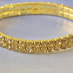 Bratara tennis swarovski champagne placata filata aur 14k gold filled 17- 19 cm - Bratara Swarovski