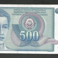 IUGOSLAVIA 500 DINARI 1990 [5] P-106, XF+ - bancnota europa