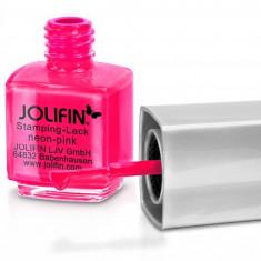 Oja speciala Jolifin pt matrita ce se aplica cu stampila, roz neon 12 ml - Lac de unghii