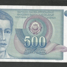 IUGOSLAVIA 500 DINARI 1990 [11] P-106, VF++ - bancnota europa