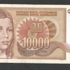 IUGOSLAVIA 10000 10.000 DINARI 1992 VF [12] P-116b, fara punct - bancnota europa