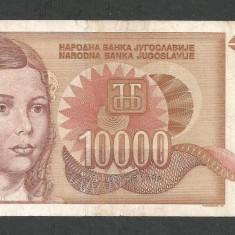 IUGOSLAVIA 10000 10.000 DINARI 1992 [16] P-116b, fara punct - bancnota europa