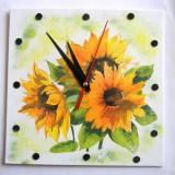 Ceas de perete cu floarea soarelui 26982