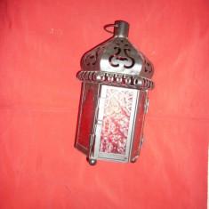 Felinar oriental pt.lumanare -metal si sticla rosie, h= 24, 5 cm