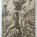 Gravura veche scena mitologica - Pictor strain, Istorice, Cerneala, Realism