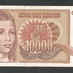 IUGOSLAVIA 10000 10.000 DINARI 1992 VF [14] P-116b, fara punct - bancnota europa
