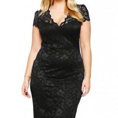 S456-1 Rochie midi eleganta, din dantela - Plus Size - Rochie de seara, Marime: L, XL, XXL