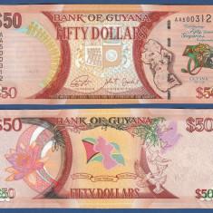 !!! GUYANA - 50 DOLARI 2016, COMM - P NEW - UNC // 50 ANI DE INDEPENDENTA - bancnota america