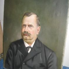 Tablou original vechi-Portret barbat Mayer Vilmos 1915-ulei-panza. Baia Mare. - Pictor strain, Portrete, Realism