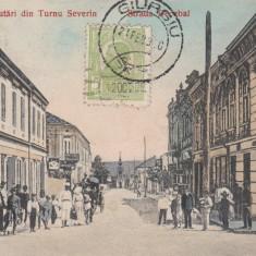 SALUTARI DIN TURNU SEVERIN, STR. DECEBAL, BANCA SEVERINUL, MAGAZINE, TRASURI - Carte Postala Oltenia 1904-1918, Drobeta-Turnu Severin, Circulata, Printata