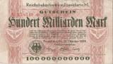 GERMANIA FRANKFURT Reichsbahn 100 Milliarden 100000000000 Mark 1923 F