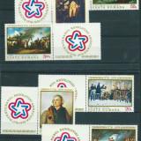 Romania - Serie de 6 timbre + vinieta -Bicentenarul Rev. Americane 1976, Arta, Nestampilat