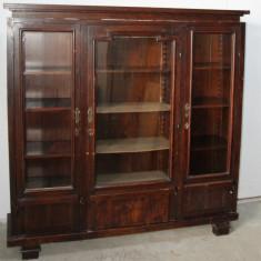 Biblioteca vintage din lemn masiv; Dulap cu polite; Vitrina; Sifonier, 1900 - 1949