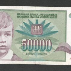 IUGOSLAVIA 50000 50.000 DINARI 1992 [1] P-117, VF+ - bancnota europa