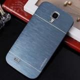 Husa pelicula aluminiu si plastic MOTOMO Samsung Galaxy S4 i9500 + folie - Husa Telefon Samsung, Albastru, Metal / Aluminiu