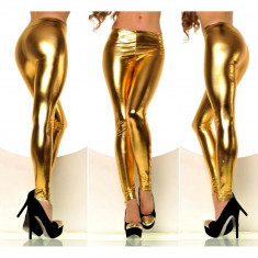 Colanti dama pantaloni metallic stretch neon luciosi disco club auriu argintiu, Marime: Marime universala, universala, Normali