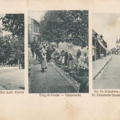 RESITA, TARG DE FRUCTE, STR. ELISABETA SI BISERICA EVANG., BISERICA ROM.CAT. - Carte Postala Banat dupa 1918, Necirculata, Printata