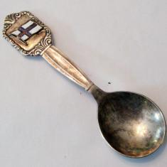 Lingurita placata cu argint si steag emailat Danemarca Meka - Metal/Fonta, Ornamentale