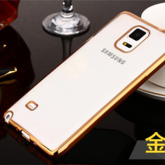 Husa Samsung Galaxy S5 TPU Margine Gold - Husa Telefon Samsung, Transparent, Gel TPU, Fara snur, Carcasa