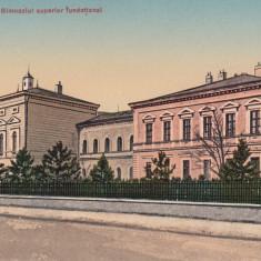 NASAUD, GIMNAZIUL SUPERIOR FUNDATIONAL, EDITURA LIBRARIEI M. ONISOR, NASAUD. - Carte Postala Transilvania dupa 1918, Necirculata, Printata