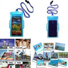 Husa telefon impermeabila Armband iphone htc samsung 16 cm x 9cm, Universala, Albastru