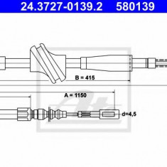Cablu, frana de parcare AUDI 4000 1.3 - ATE 24.3727-0139.2