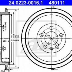 Tambur frana SKODA PRAKTIK 1.2 TDI - ATE 24.0223-0016.1 - Saboti frana auto