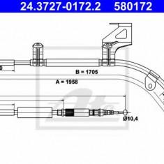 Cablu, frana de parcare AUDI A6 limuzina 1.8 T - ATE 24.3727-0172.2