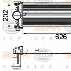 Intercooler, compresor RENAULT TRUCKS MASCOTT platou / sasiu 120.35 - HELLA 8ML 376 756-121 - Intercooler turbo