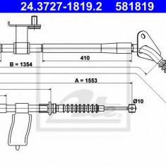 Cablu, frana de parcare MAZDA ETUDE V 1.3 16V - ATE 24.3727-1819.2