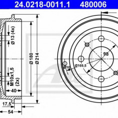 Tambur frana FIAT PANDA 1.2 - ATE 24.0218-0011.1 - Saboti frana auto