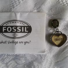 Charm inima Fossil - Pandantiv inox