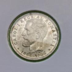 ROMANIA 1 LEU 1906 aUNC - Moneda Romania, Argint