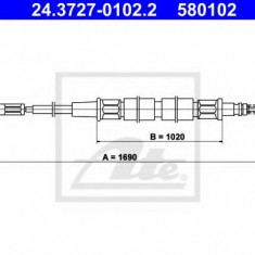 Cablu, frana de parcare VW CARIBE I 1.1 - ATE 24.3727-0102.2