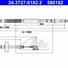 Cablu, frana de parcare AUDI A4 1.8 T - ATE 24.3727-0182.2