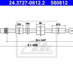 Cablu, frana de parcare PEUGEOT 306 hatchback 2.0 XSi - ATE 24.3727-0812.2