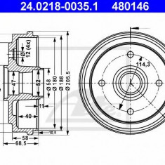 Tambur frana CHEVROLET Spark 0.8 LPG - ATE 24.0218-0035.1 - Saboti frana auto