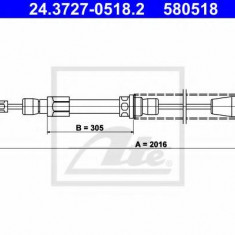 Cablu, frana de parcare FIAT UNO 45 1.0 - ATE 24.3727-0518.2