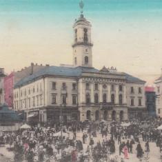 CERNAUTI, PRIMARIA, PIATA, MAGAZINE, ANIMATA, K.U.K., EDITURA DAVID GROSS - Carte Postala Bucovina 1904-1918, Circulata, Printata