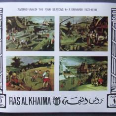 RAS AL KHAIMA - PICTURA CELE 4 ANOTIMPURI, 1 M/SH NEDANTELATA, NEOBLIT - RAK 22