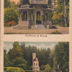 VATRA DORNEI, PAVILIONUL DE MUZICA SI IZVORUL SENTINELA, CENZURAT CAMPULUNG - Carte Postala Bucovina dupa 1918, Circulata, Printata