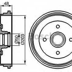 Tambur frana FORD FIESTA Mk III 1.1 - BOSCH 0 986 477 049 - Saboti frana auto