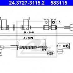Cablu, frana de parcare HYUNDAI AVANTE limuzina 1.6 CVVT - ATE 24.3727-3115.2