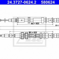Cablu, frana de parcare FORD SIERRA hatchback 1.6 - ATE 24.3727-0624.2