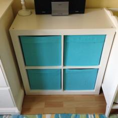Etajera alba cub cu 4 sertare/cutii turcoaz - corp patrat sau comoda tv - Raft/Etajera